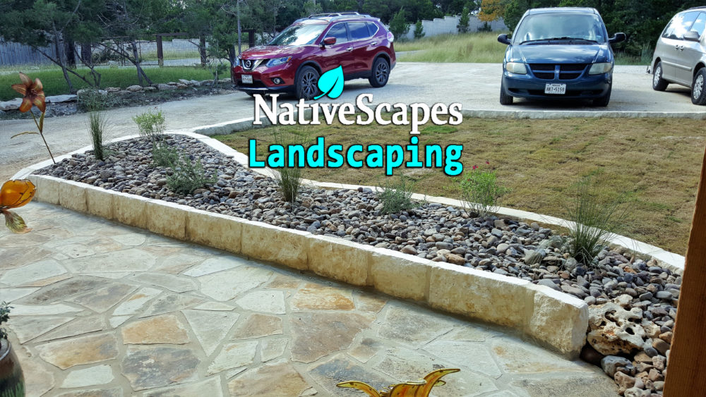 Front yard makeover nativescapes landscaping new braunfels tx - Building river stone walls with mortar sobriety and elegance ...